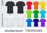 round neck t shirts templates.... | Shutterstock .eps vector #745251445