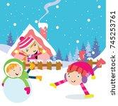 kids play in winter. children... | Shutterstock .eps vector #745253761