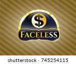 gold badge or emblem with... | Shutterstock .eps vector #745254115