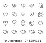 premium set of heart line icons....