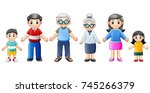 happy families cartoon | Shutterstock . vector #745266379