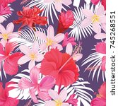 tropical seamless pattern with... | Shutterstock .eps vector #745268551