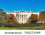 the white house illuminated by... | Shutterstock . vector #745271599