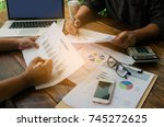 business team working with... | Shutterstock . vector #745272625