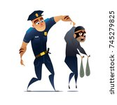 young and strong policeman... | Shutterstock .eps vector #745279825