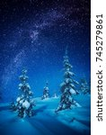 fairy winter forest covered... | Shutterstock . vector #745279861