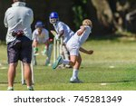 cricket juniors bowler ball... | Shutterstock . vector #745281349