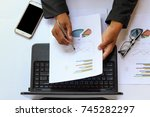 top view business man working... | Shutterstock . vector #745282297