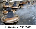 Preparing so called Mongolian Hot Pot at a street in Beijing, China - stock photo