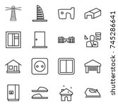 thin line icon set   lighthouse ... | Shutterstock .eps vector #745286641