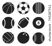 sports balls vector set.... | Shutterstock .eps vector #745287511