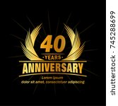 40 years design template.... | Shutterstock .eps vector #745288699