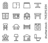thin line icon set   arch... | Shutterstock .eps vector #745291354