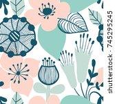 abstract flower graphic design. ... | Shutterstock .eps vector #745295245