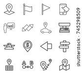 thin line icon set   pointer ... | Shutterstock .eps vector #745298509