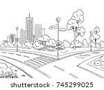street road graphic black white ... | Shutterstock .eps vector #745299025
