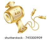 a vector illustration of a gold ... | Shutterstock .eps vector #745300909