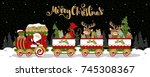 the christmas train and... | Shutterstock .eps vector #745308367