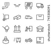 thin line icon set   gift ... | Shutterstock .eps vector #745308391