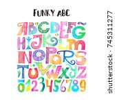 funky abc. hand drawn sketchy... | Shutterstock .eps vector #745311277