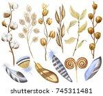 watercolor flowers  dry seed... | Shutterstock . vector #745311481