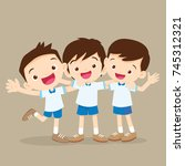 happy smiling pupil hugging... | Shutterstock .eps vector #745312321