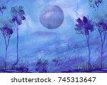 Watercolor Mountain Landscape ...