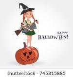 happy halloween illustration.... | Shutterstock .eps vector #745315885
