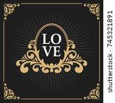 vintage luxury monogram logo... | Shutterstock .eps vector #745321891