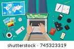 man with laptop pc and paper... | Shutterstock . vector #745323319