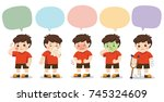 set of a boy get sick with... | Shutterstock .eps vector #745324609