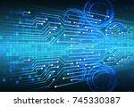 binary circuit board future... | Shutterstock .eps vector #745330387