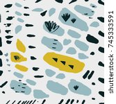 vector hand drawn abstraction.... | Shutterstock .eps vector #745333591