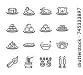 chinese ancestor worship line... | Shutterstock .eps vector #745333897