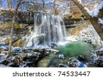 Rock Glen Falls near Arkona Ontario in the Winter - stock photo