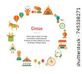 cartoon circus banner card... | Shutterstock .eps vector #745338271
