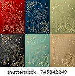 set of christmas typographical... | Shutterstock .eps vector #745342249