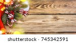 christmas and new year holiday... | Shutterstock . vector #745342591