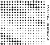 grunge halftone black and white ... | Shutterstock .eps vector #745344721
