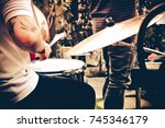 the music band. hand that held... | Shutterstock . vector #745346179