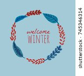 a winter round background  a... | Shutterstock .eps vector #745346314