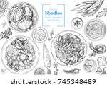 asian food engraved sketch.... | Shutterstock .eps vector #745348489