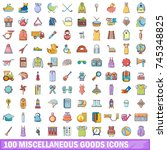 100 miscellaneous goods icons set. Cartoon illustration of 100 miscellaneous goods vector icons isolated on white background
