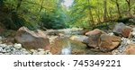 mountain river in the forest.... | Shutterstock . vector #745349221
