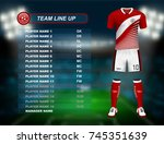 red soccer jersey kit with team ... | Shutterstock .eps vector #745351639