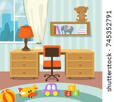 baby room interior with bed and ... | Shutterstock .eps vector #745352791