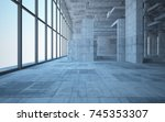 abstract white and concrete... | Shutterstock . vector #745353307