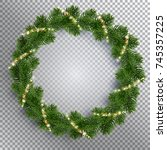 christmas fir tree wreath and... | Shutterstock .eps vector #745357225