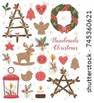 handmade christmas set. vector...   Shutterstock .eps vector #745360621