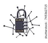 blockchain emblem concept.... | Shutterstock .eps vector #745362715